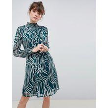 Ichi - Hochgeschlossenes Kleid mit Print - Mehrfarbig