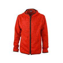 James & Nicholson Herren Sweatshirt Fleece Men's Knitted Hoody rot (Red-Melange/Black) Large