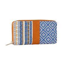 SIX Frühling Damen Geldbörse, Portemonnaie, Geldbeutel mit Reißverschluss in braun jeans blau, Ethno, Boho Style, Patchwork, 20x10x2 cm (703-060)