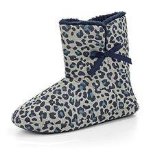 ESPRIT 096EK1W086 030 Damen Hausschuh-Bootie aus Leder Textilinnenausstattung, Groesse 40, Grau/Blau/Leo
