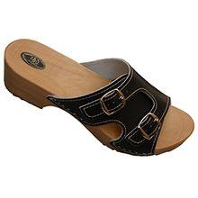 Holzpantoletten für Damen Clogs Schuhe mit Absatz Holz Sandalette Leder Clogs Pantolette (39, Schwarz)