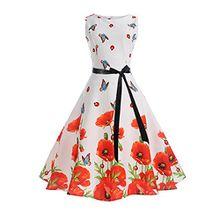 iBaste Damen 50s Retro Vintage Rockabilly Kleid Partykleider Cocktailkleid Swing