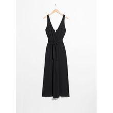 Belted Wrap Jumpsuit - Black