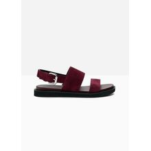 Raw Edge Leather Sandals - Red