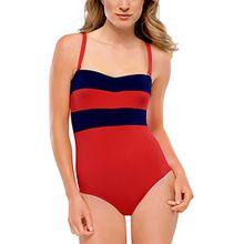Schiesser Damen Einteiler Badeanzug, Gr. 38 (Herstellergröße: 38C), Rot (rot 500)