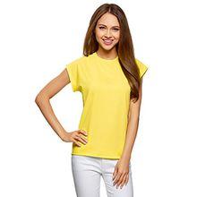 oodji Ultra Damen T-Shirt Basic Aus Baumwolle, Gelb, DE 36/EU 38/S