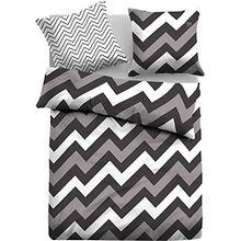 Tom Tailor Jugend Bettwäsche » Black & White « Grafik Muster cool & stillvoll Kissen mit Wende Design grau, anthrazit - Kissenbzug 80x80 + Bettbezug 135x200 - 100% Baumwolle …