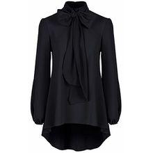 Klassisches, elegant schwarzes Damen Krepp-Chiffon mit Halsschleife, Bluse Shirt Oberteil Gr. 34, schwarz