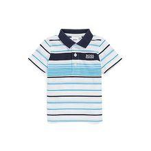 Gestreiftes Kids-Poloshirt aus Baumwolle mit Logo am Kragen