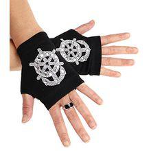 caripe 1 Paar Damen fingerlose Handschuhe Handstulpen Strick Armstulpen kurz - ku (One Size, Ankerstrass schwarz - kurz- 1)