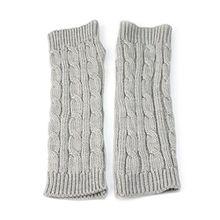 Bluelans® Strickwolle Armstulpen Pulswärmer Handschuhe fingerlos Stulpen Damenhandschuhe Winterhandschuhe (Hellgrau)