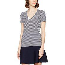 Lacoste Damen T-Shirt TF2379, Mehrfarbig (Blanc/Marine), 38 (Herstellergröße: 38)