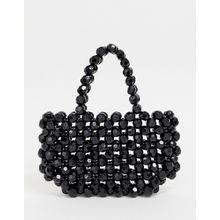 Glamorous - Schwarze Handtasche aus Resin-Perlen - Schwarz