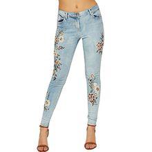 WEARALL Damen Niedrig Steigen Denim Jeans Damen Blumen Stickerei Dünn Fit Schaltfläche Tasche - Blau - 38