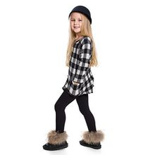 Hi! Mom WINTER KINDER LEGGINGS volle Länge Baumwolle Kinder Hose Thermische Material jedes Alter child28 - Schwarz, EU 122-128