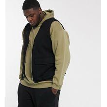 ASOS DESIGN Plus – Schwarzes Jersey-Gilet mit Taschen