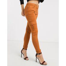 Parisian– Enge Jeans mit Cargo-Taschen-Braun