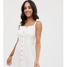 Vila - Geknöpftes Camisole-Minikleid mit Lochstickerei - Weiß