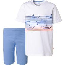 SANETTA Schlafanzug blau / weiß