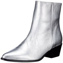 PIECES Damen Pspedrine Leather Boot Silver Stiefel, Silber (Silver Colour), 38 EU