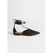 Pointed Woven Leather Lace Up Flats - Black