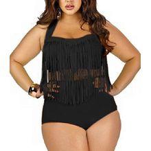 Butterme Damen Retro hohe Taillen Troddel Franse Zweiteiler Bikini Badebekleidung Plus Size (Schwarz,Größe XL)