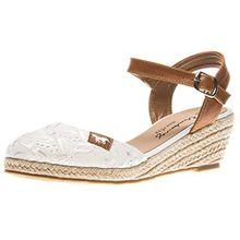 Mustang Damen Keil-Sandaletten Weiß, Schuhgröße:EUR 43