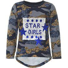 BEZLIT Mädchen Kinder Pullover Camouflage Pulli Wende Pailletten 21550, Farbe:Navy, Größe:164