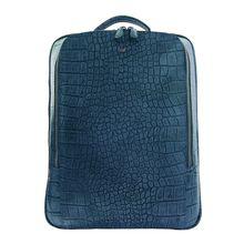 Braun Büffel Lederrucksack mit Kroko-Optik Tagesrucksäcke blau Herren