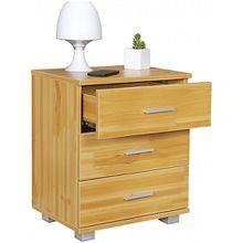 Nachttisch mit 3 Schubladen  45x54x34 cm, Buche Design beige