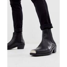 ASOS DESIGN - Chelsea-Stiefel im Western-Stil aus schwarzem Leder mit kubanischem Absatz und Metallbesatz - Schwarz