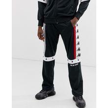 Kappa - Authentic Baltas - Schwarze Jogginghose mit Druckknöpfen und großem Logoband - Schwarz