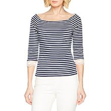 TOM TAILOR Denim Damen T-Shirt Striped Carmen Shirt, Weiß (White 6 1006), Small