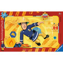 Rahmen-Puzzle, 15 Teile, 25x14,5 cm, Feuerwehrmann Sam: Sam in Aktion