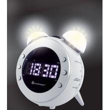 Soundmaster Radiowecker mit Projektion + dimmbaren Nacht- und Aufwachlicht, weiß