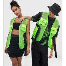 COLLUSION – Unisex – Weste in Neon mit mehreren Taschen-Grün