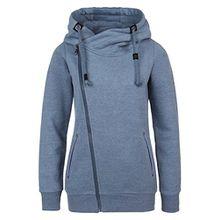 Sublevel Sweatjacke mit Zipper & Kapuze | Cooler Damen Hoodie - schräger Reißverschluss, Uni-farben middle-blue M