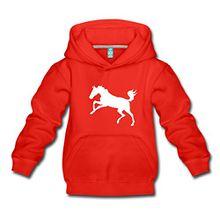 Spreadshirt Springendes Pferd Umriss Pony Kinder Premium Hoodie, 152/164 (12-14 Jahre), Rot