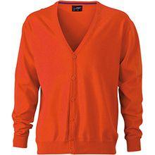 Men's V-Neck Cardigan - Herren Cardigan mit V-Neck XL,Dark Orange