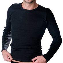 HERMKO 3640 Herren langarm Shirt aus 100% EU Baumwolle, long-sleeved underwear for men Männer Unterhemd mit langen Armen, Farbe:schwarz, Größe:D 4 = EU S