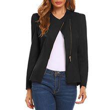 Meaneor Damen Suit Blazer Langarm Schräger V-Ausschnitt Business Anzug Freizeit Blazer mit Reißverschluss, Schwarz, Gr. L