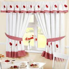Küchen Vorhänge Mohnblumen Gingham Bestickt Rot Weiß W117cm X L137cm Inklusive Raffhalter