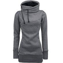 Damen Outwear, FEITONG Frauen Langarm Blusen Sweatshirt Kapuzen Pullover Tops (S, Grau)