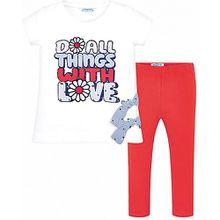 Set T-Shirt + Leggings  rot/weiß Mädchen Kleinkinder