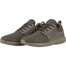 Urban Classics Damen und Herren Light Runner Shoe, Low-Top Sneaker für Damen und Herren, Sportschuhe mit Schnürung, Dark Olive, Größe 45