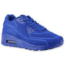 Trendige Unisex Lauf Damen Herren Kinder Sport Metallic Glitzer Camouflage Sneaker Bunt Schnür Sport Turn Schuhe 135528 Blue 39 Flandell