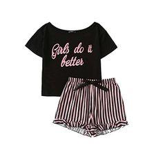 DIDK Damen Baumwoll Schlafanzug Set mit Slogan Top und Shorts Pajamas Rosa L