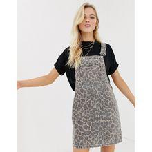 Only - Jeans-Latzkleid mit Leopardenmuster - Mehrfarbig