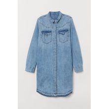 H & M - Blusenkleid aus Denim - Blue - Damen