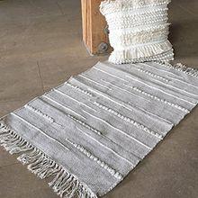 Teppich MIGA beige Boho Fransen 60x90 cm Vorleger Zierteppich Ethno Landhaus
